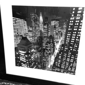 NEW YORK CITY SCAPE WITH WOODEN FRAME